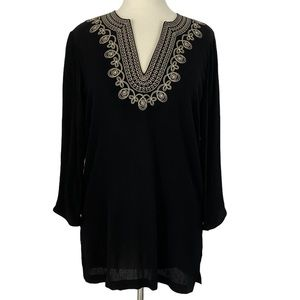 Cathy Daniels Embroidered Embellished Textured Top